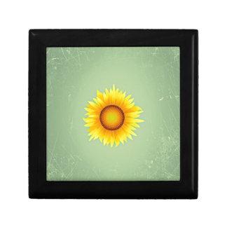 Vintage Retro Bright Yellow Sunflower / Mint Green Gift Box