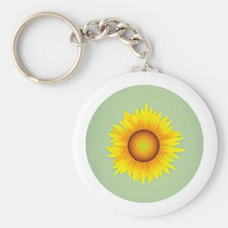 Vintage Retro Bright Yellow Sunflower / Mint Green Keychains