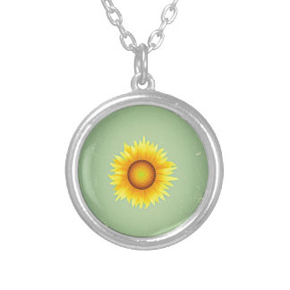 Vintage Retro Bright Yellow Sunflower / Mint Green Necklaces