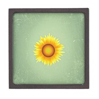 Vintage Retro Bright Yellow Sunflower / Mint Green Premium Gift Boxes