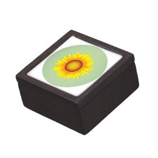Vintage Retro Bright Yellow Sunflower / Mint Green Premium Keepsake Box