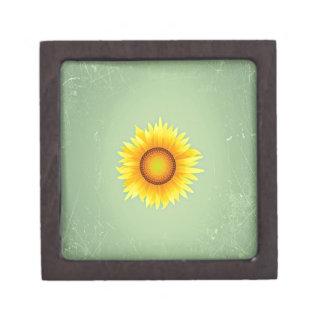 Vintage Retro Bright Yellow Sunflower / Mint Green Premium Jewelry Box