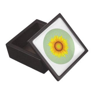 Vintage Retro Bright Yellow Sunflower / Mint Green Premium Trinket Boxes