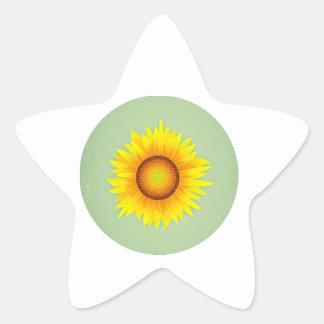 Vintage Retro Bright Yellow Sunflower / Mint Green Star Sticker