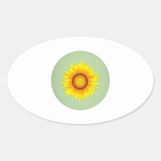 Vintage Retro Bright Yellow Sunflower / Mint Green Sticker