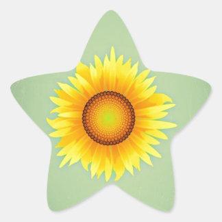 Vintage Retro Bright Yellow Sunflower / Mint Green Stickers