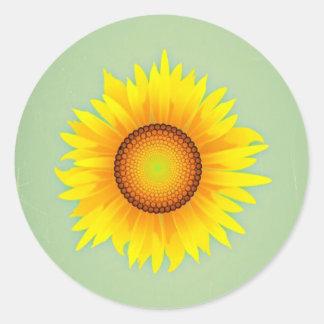 Vintage Retro Bright Yellow Sunflower / Mint Green Round Sticker