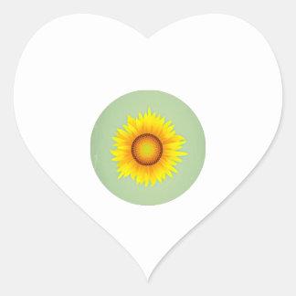 Vintage Retro Bright Yellow Sunflower / Mint Green Heart Stickers