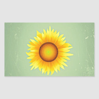 Vintage Retro Bright Yellow Sunflower / Mint Green Rectangle Stickers