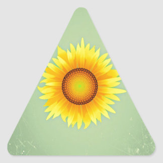 Vintage Retro Bright Yellow Sunflower / Mint Green Triangle Stickers
