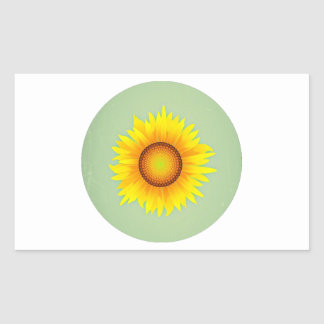 Vintage Retro Bright Yellow Sunflower / Mint Green Rectangular Sticker