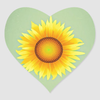 Vintage Retro Bright Yellow Sunflower / Mint Green Heart Sticker