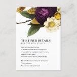 VINTAGE RETRO BURGUNDY FALL FLORAL WEDDING DETAILS ENCLOSURE CARD