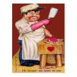 Vintage Retro Butcher Valentine Card Post Cards