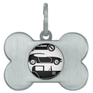 Vintage retro car racing coupe and limo pet tag