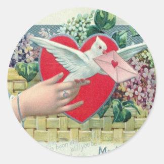 Vintage Retro Carrier Pigeon With Valentine Card Classic Round Sticker