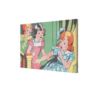Vintage Retro Cartoon Art of Little Girls Canvas Print