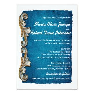 Vintage Retro Carving Decorated Blue Wedding Announcement