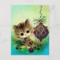 Vintage retro cat Christmas holiday postcard