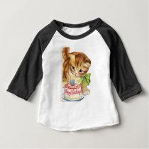 Vintage Retro Cat Kitten Birthday Cake Greeting Baby T-Shirt