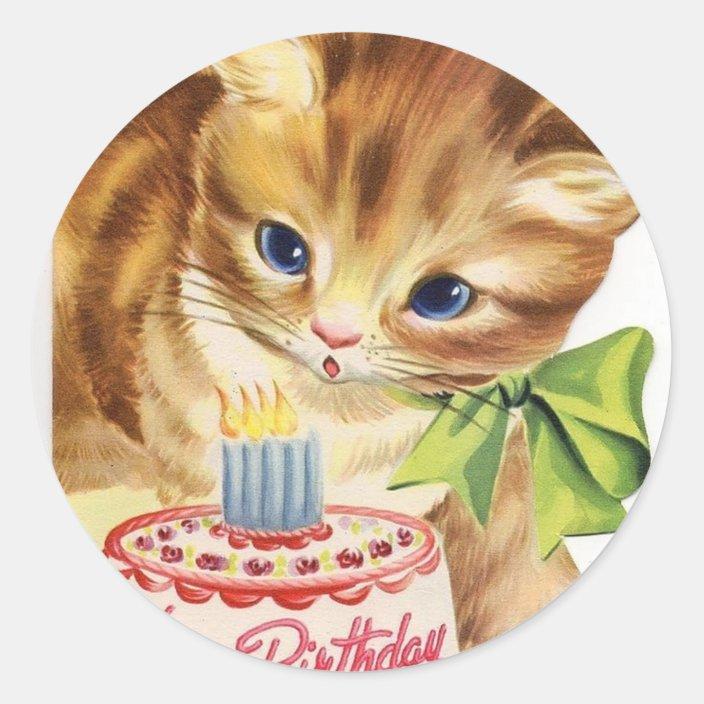 Magnificent Vintage Retro Cat Kitten Birthday Cake Greeting Classic Round Funny Birthday Cards Online Necthendildamsfinfo