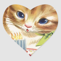 Vintage Retro Cat Kitten Birthday Cake Greeting Heart Sticker