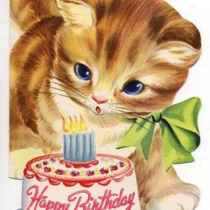 Vintage Retro Cat Kitten Birthday Cake Greeting Keychain