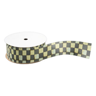 Vintage Retro Checkerboard Tile Grosgrain Ribbon