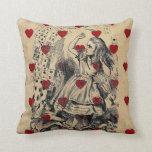 Vintage retro chic Alice in wonderland art Throw Pillow