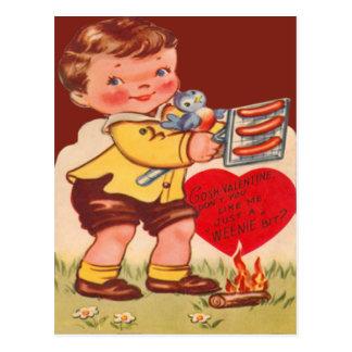 Vintage Retro Child Roasting Hot Dogs Valentine Postcard