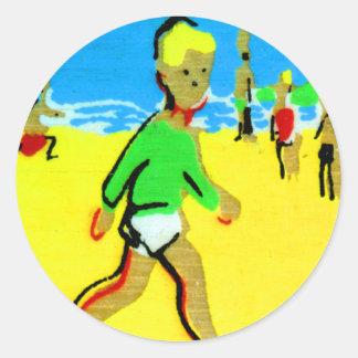Vintage Retro Children Beach Boy Illustration Classic Round Sticker