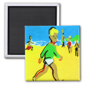 Vintage Retro Children Beach Boy Illustration Magnet