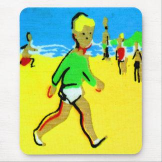 Vintage Retro Children Beach Boy Illustration Mouse Pad