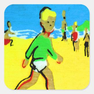 Vintage Retro Children Beach Boy Illustration Square Sticker