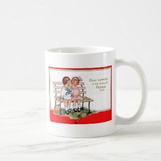 Vintage Retro Children Playing Tennis Valentine Ca Coffee Mug