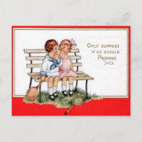 Vintage Retro Children Playing Tennis Valentine Ca Holiday Postcard