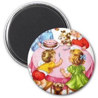 Vintage Retro Children's Birthday Party Dog Kitten Magnet