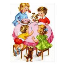 Vintage Retro Children's Birthday Party Dog Kitten Postcard