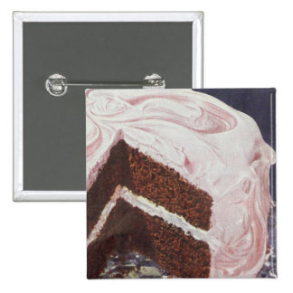Vintage Retro Chocolate Cake Pink Icing Pinback Button