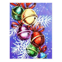 Vintage Retro Christmas bells Holiday postcard