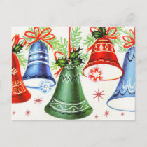 Vintage retro Christmas bells Holiday postcard