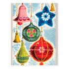 Vintage retro Christmas bells Holiday poster Postcard