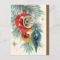 Vintage retro Christmas bulbs Holiday postcard