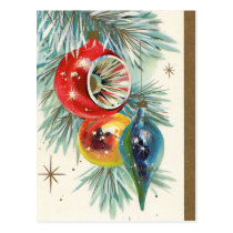 Vintage retro Christmas bulbs Holiday postcard