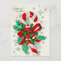 Vintage retro Christmas candy cane postcard