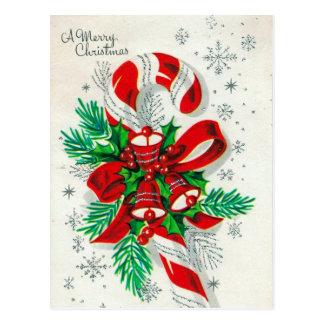 Vintage retro Christmas candy cane postcard