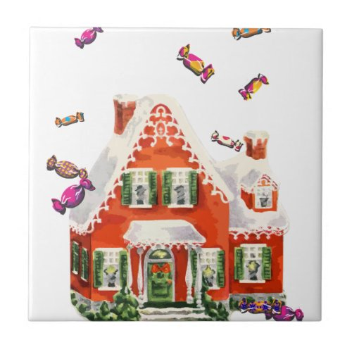 vintage retro christmas candy gingerbread house ceramic tile