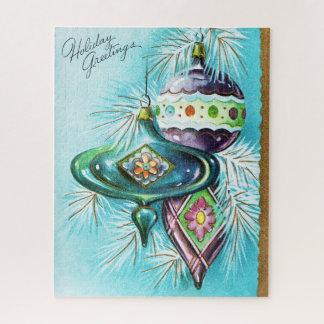 Vintage retro Christmas card Festive puzzle