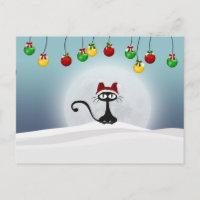 Vintage Retro Christmas Cat Postcard