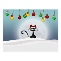 Vintage Retro Christmas Cat Postcard